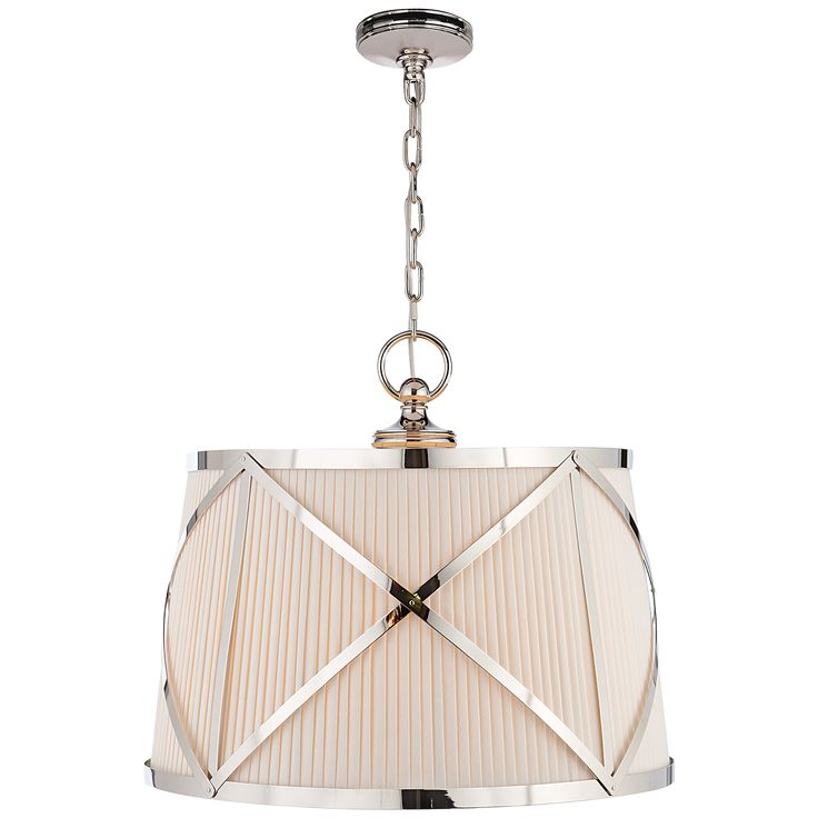 Grosvenor Large Single Hanging Shade In Polished Nickel With Linen Shade In 2019