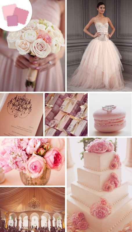 Pink wedding inspiration board.