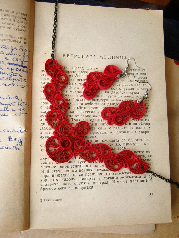 Paper Necklace, First Wedding Anniversary Gift For Her, Red Jewelry, Special Occasion Gift, Romantic Jewelry For 1st Anniversary