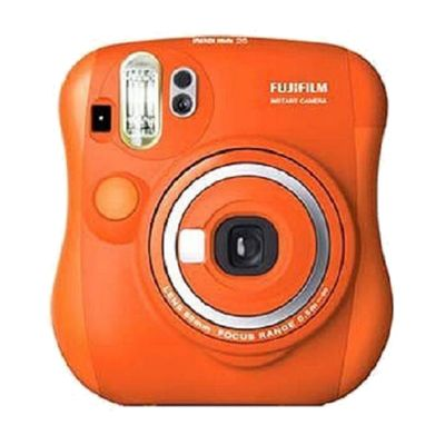 Orange Instax Mini Camera 25s by Fujufilm. The Fujifilm Instax Mini 25 (or Cheki 25 in Japan) is a compact, instant film camera that you'll want to take everywhere. Retro styling, and simple operation. Get yours mmow. http://www.zocko.com/z/JGOwO
