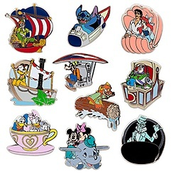 Collector pins featuring Disney characters riding their own rides at Disneyland! I love these!