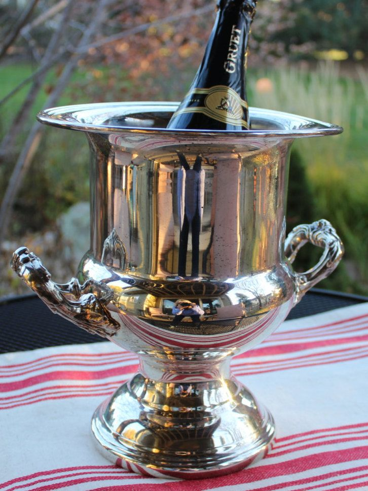 Vintage Gorham Newport  Silver Plate Classic Design Champagne Wine Bucket by objectsofvirtu on Etsy