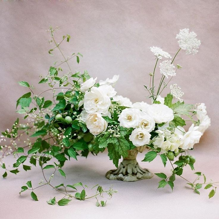 Low Centerpiece Design 2 On Low Footed Stand, Asymmetrical Design / Floral  To Green Ratio Inspo