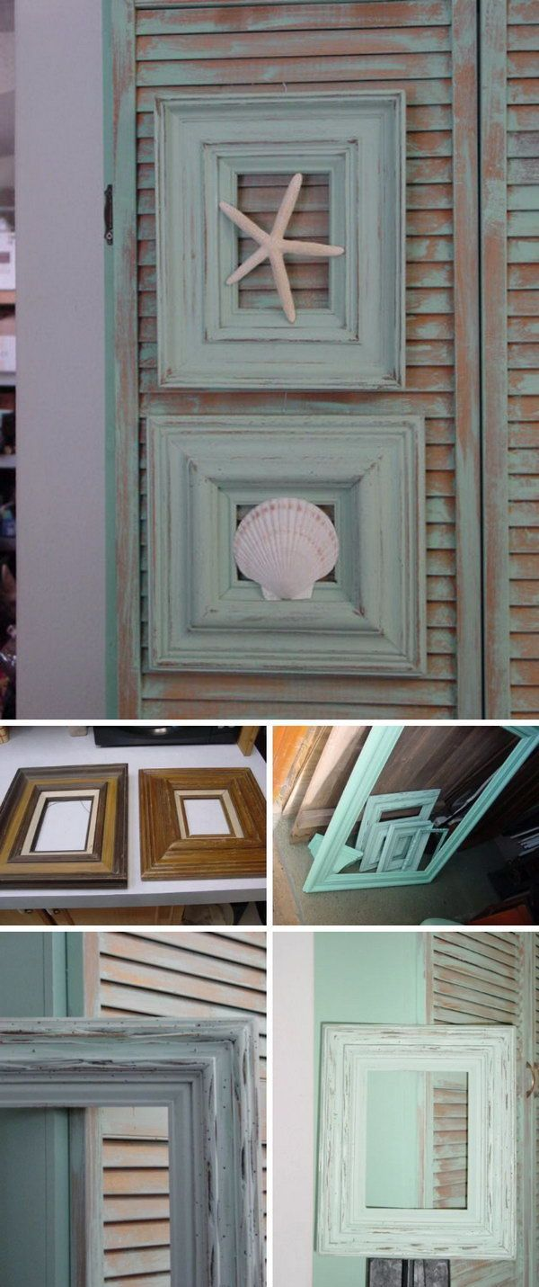 50 DIY Shabby Beach Cottage Framed Seashells
