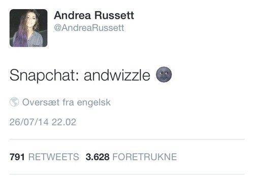 This is andrea russett snapchat so if u want to add her then add her