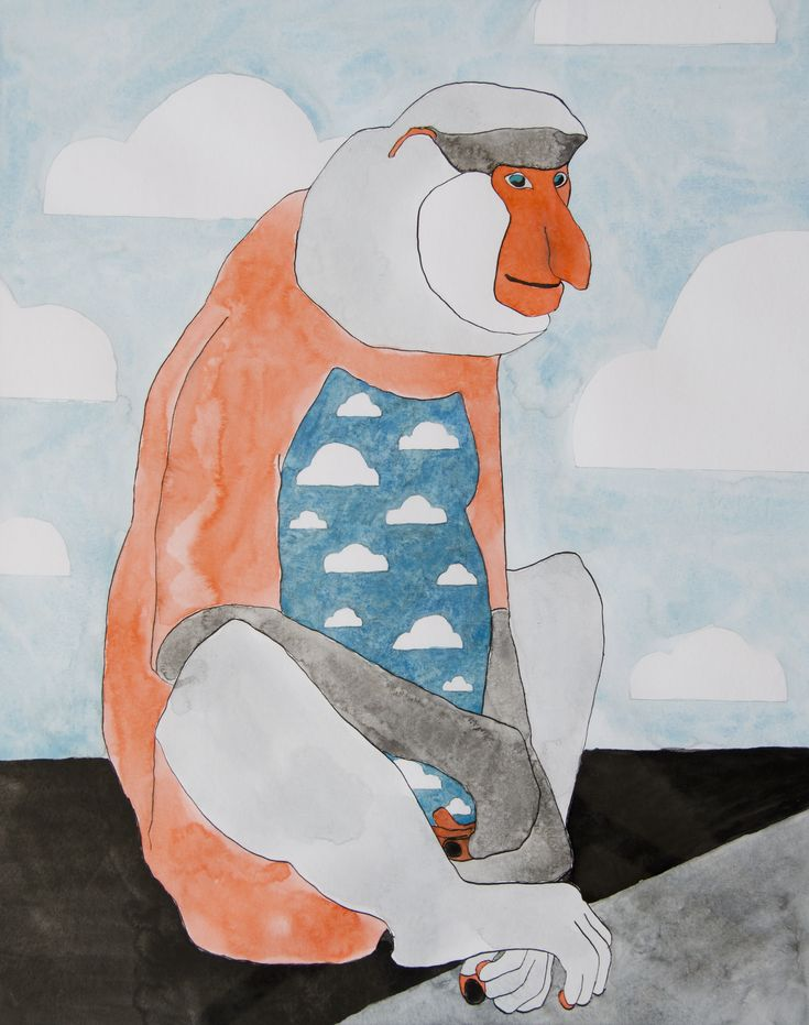 Long-nosed ape. Watercolor and ink illustration by Katrine Mosegaard