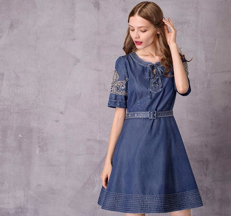 Vintage embroidered and ultrasoft denim dressflatters with its fitted bodice and A-line A-Linesilhouette Empirewaistline Regular sleeve style Embroidery Abo