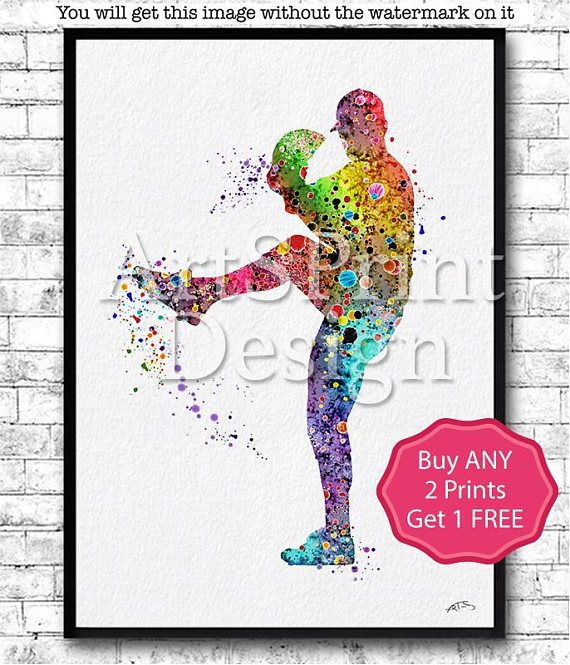 Man Boy Baseball Softball Pitcher Sports Art Print Watercolor