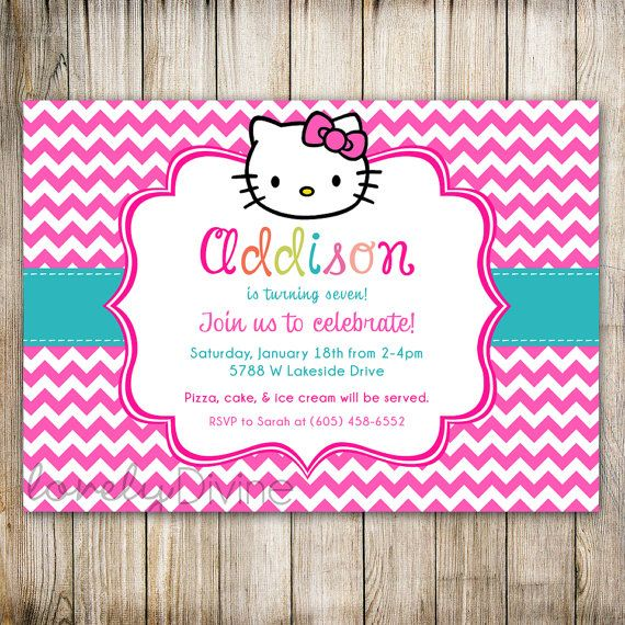 Hello Kitty Chevron Birthday Invitation 1st 2nd 3rd 4th 5th 6th