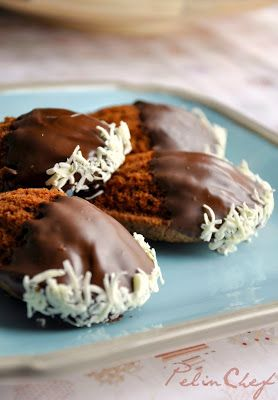 Orange madeleines with chocolate and coconut