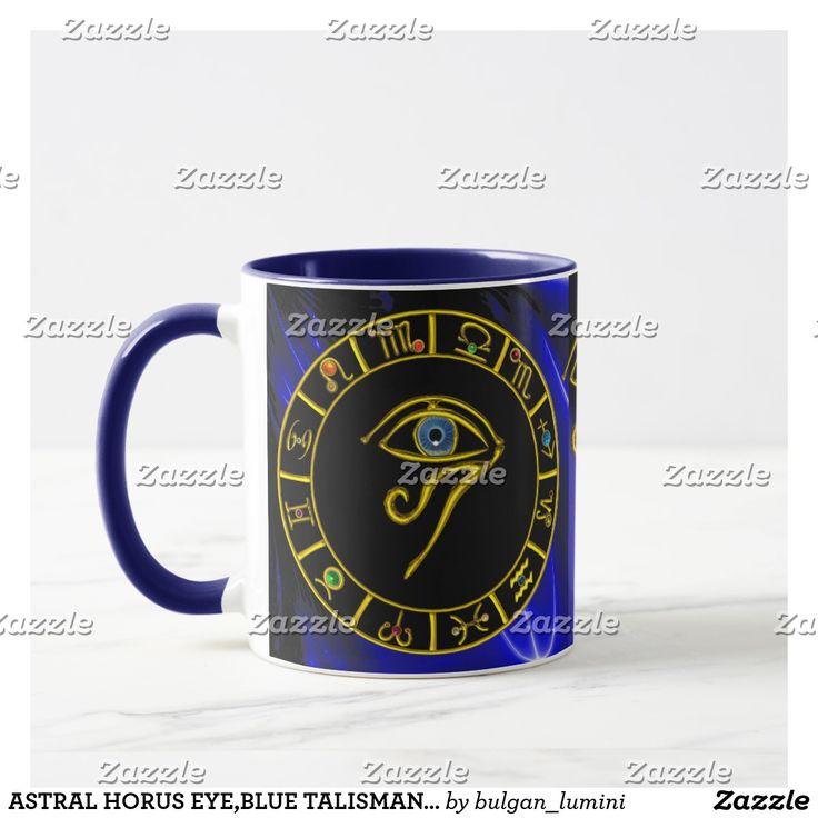 ASTRAL HORUS EYE,BLUE TALISMAN Gold Zodiac Chart Mug  #astrology #astrologist #zodiacal #zodiac #agypt #horus #magic #zodiacchart #watches #3d #digitalart