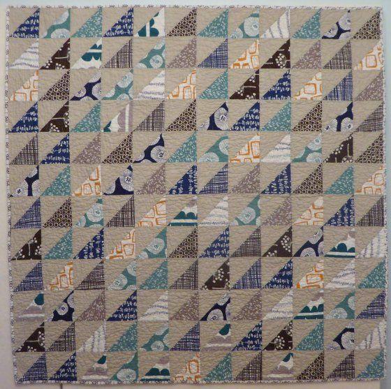 Linen HST Quilt   by Lisa of the Saskatoon Modern Quilt Guild