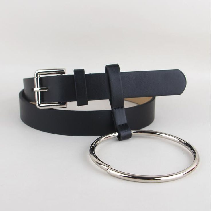 HOT Newest Design Women waist belt Lovely women's big ring decorated belts female fashion gold pin buckle solid PU leather strap