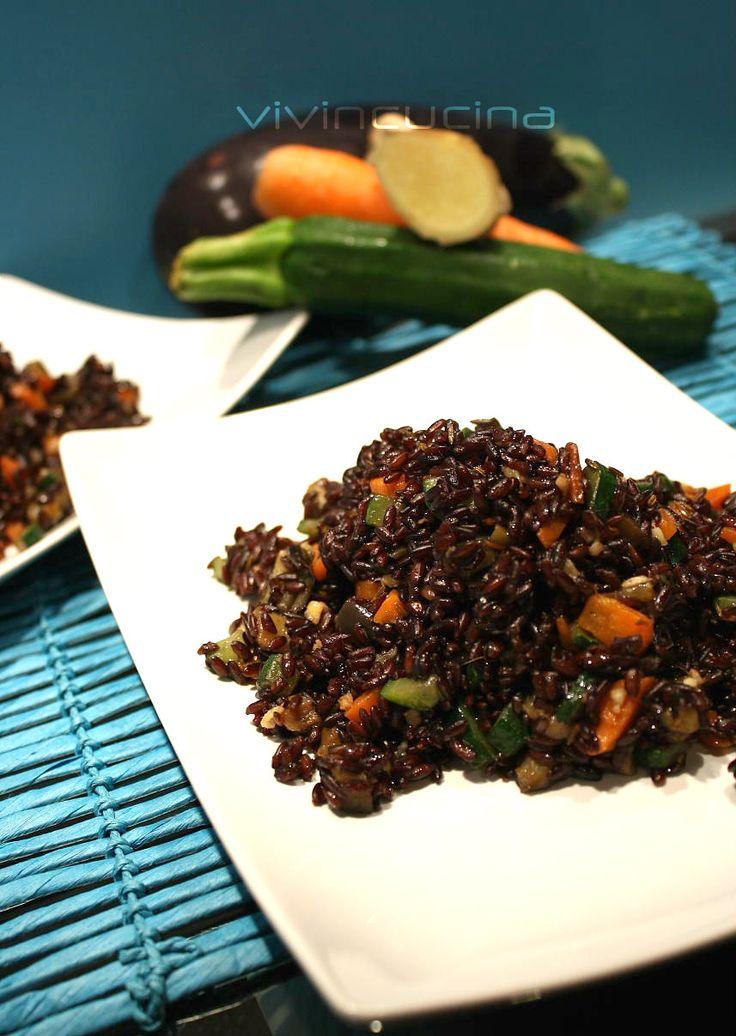 riso venere e verdure