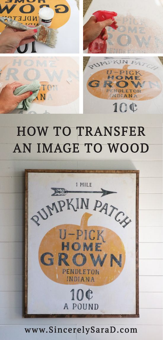 Tutorial for transferring an image to wood.  Includes a FREE pumpkin patch printable - perfect for fall!