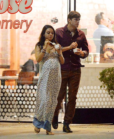 A treat for his sweet! Ashton Kutcher accompanied pregnant fiancee Mila Kunis for an ice cream date on her 31st birthday in L.A.