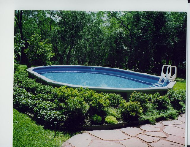 hide above ground pool | oval pool garden ridge 15x26 ft oval pool recessed landscape ...