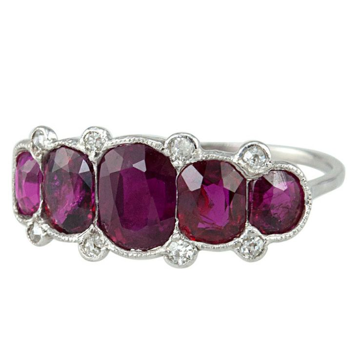 Classic Five Ruby Edwardian Ring | From a unique collection of vintage three-stone rings at http://www.1stdibs.com/jewelry/rings/three-stone-rings/