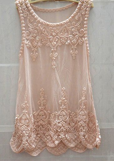 Chic Sweet Womem Full Lace Embroidery Floral Mesh Sleeveless Long Blouse Tank Tops Tops Gauze Shirt Mini Dress Pink
