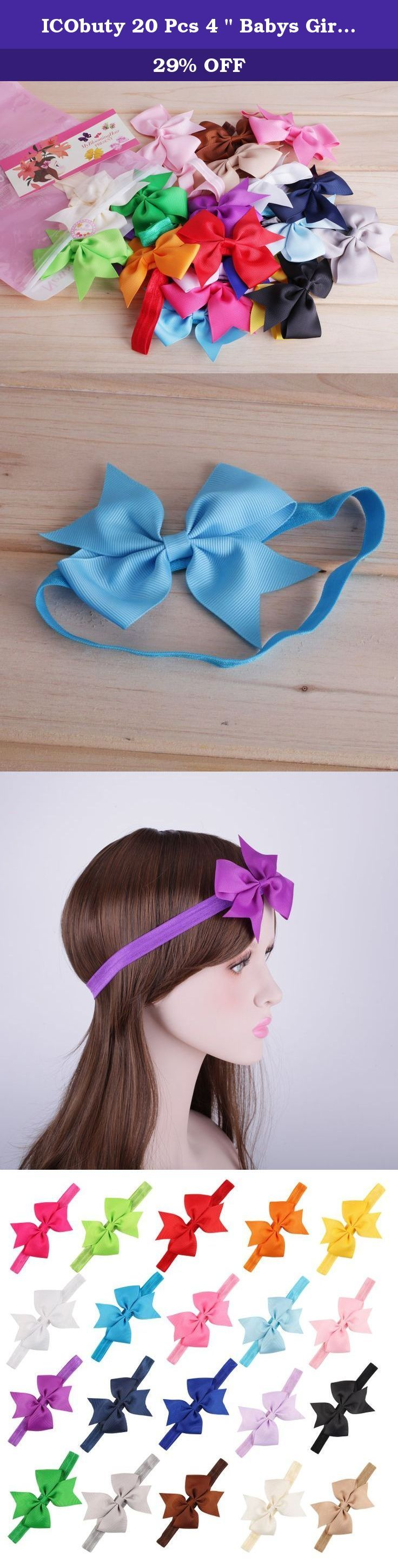 """ICObuty 20 Pcs 4 """" Babys Girls Hair Bows Hair band For NewbornToddlers. Sometimes,Some occasions, You will need a hair bow,be ready at any time This set of 20 different color baby girl hair bow are extremely adorable, great for all occasions. they are sure to please mothers and daughters."""