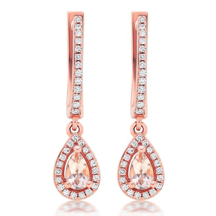 Beaverbrooks | 9ct Rose Gold Diamond and Morganite Drop Earrings #Beaverbrooks #Party #Jewellery