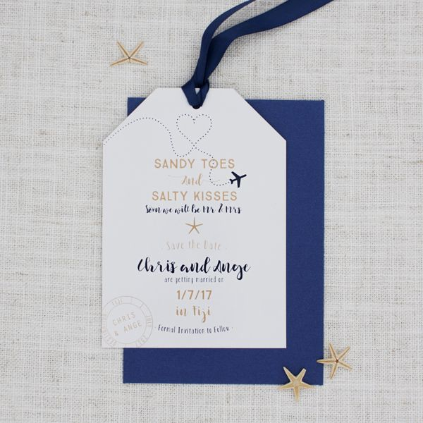 Sandy toes and salty kisses... sounds like a luxurious dream! Invite your guests along with this destination save the date.