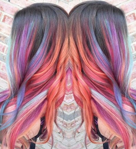 orange purple pastel dyed hair color streak @beautylaughpad