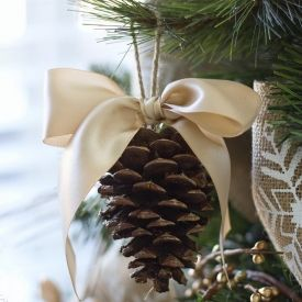 Dress up your Christmas tree with this simple, but classy pine cone with a bow ornament. Like the idea of using our own pinecones....when we move away we will always have a piece of our old home wherever we are.