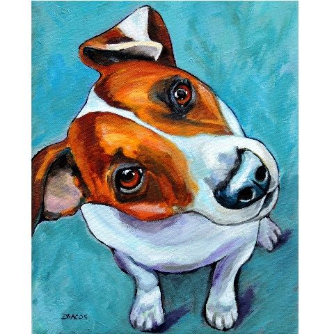 "Jack Russell Dog Art Print of Original Painting by Dottie Dracos ""Jack Looking Up"""