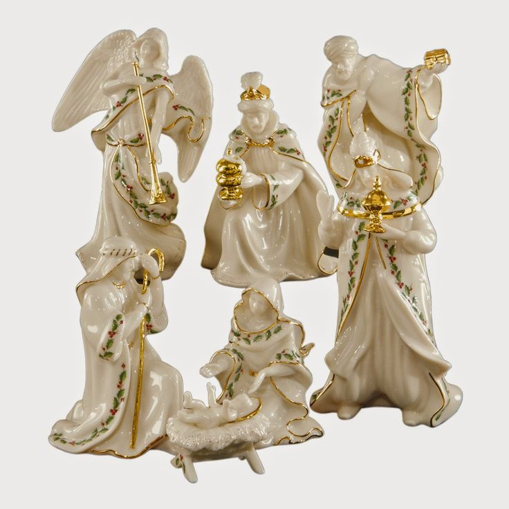 Lenox Holiday Miniature Nativity S/7 Lenox Holiday Miniature Nativity S/7. This seven-piece nativity set includes the Holy Family, three kings, and trumpeting angel. All in ivory fine china accented with 24 karat gold and our popular Holiday motif.
