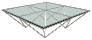 Large Square Origami Coffee Table in Stainless Steel by Nuevo - HGTA665 modern-coffee-tables