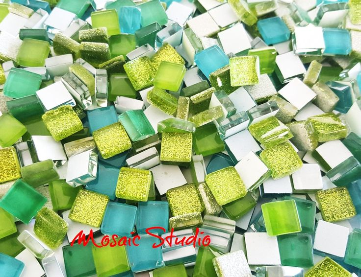 Mini Crystal Tiles 10x10mm - Greens mix 400pc by MosaicStudio1 on Etsy