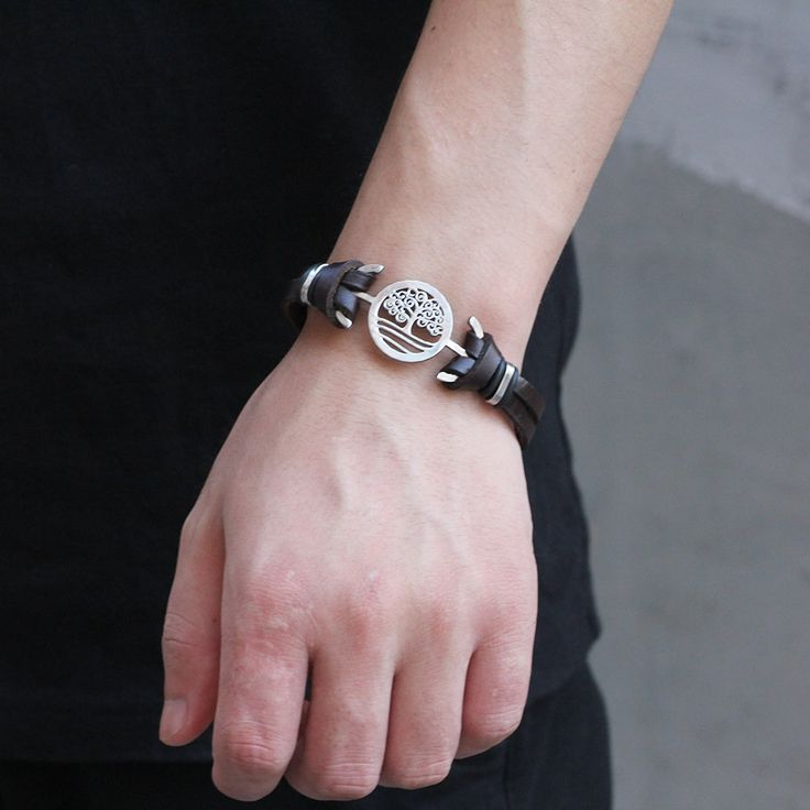 Designer Fashion Tree of Life Charm Stainless Steel Chain Genuine Leather Bracelets for Men - NewChic