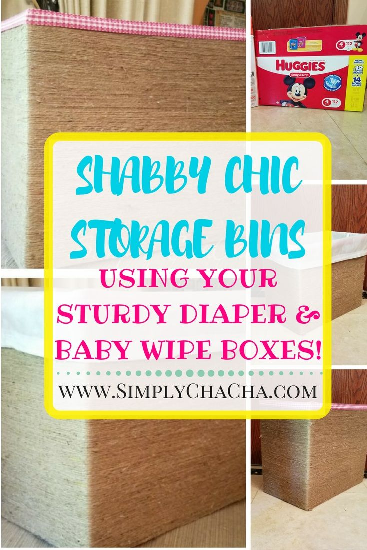 Super cute, shabby chic DIY made from a diaper/wipe box (or any box) Perfect for home storage, decor, on a shelf, in an office, bedroom a bathroom and more!