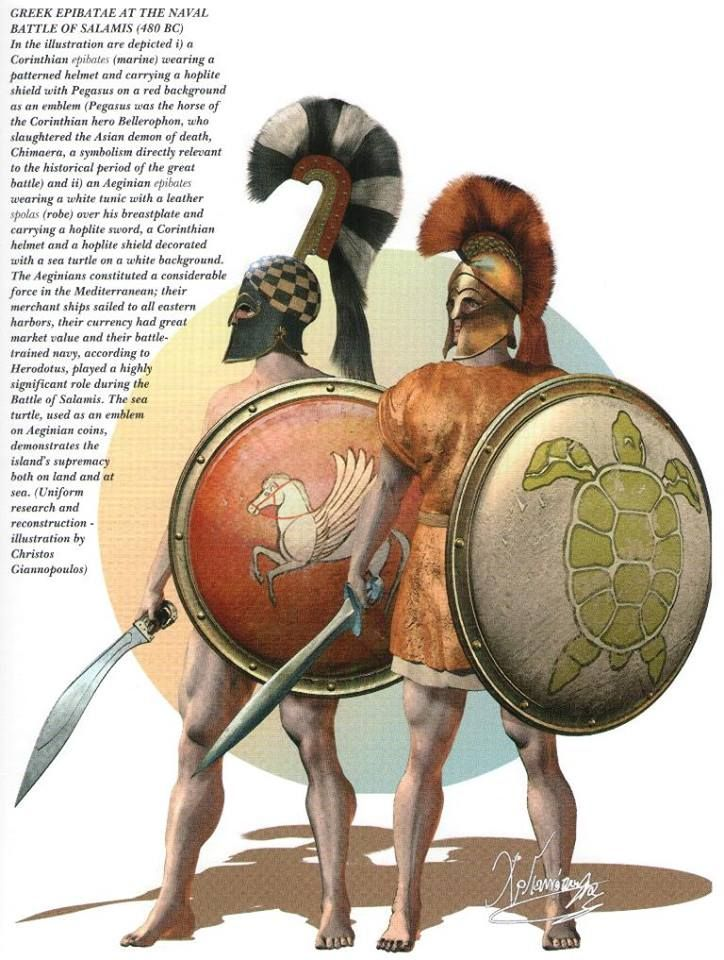 The ancient Greek marines/epibitae. These two are identified from their shield devices. The tortoise, from the isle of Aegina, and the 'Pegasus', for the Korinthian hero, Bellerophon, from Korinth. Art by Christos Giannopolous