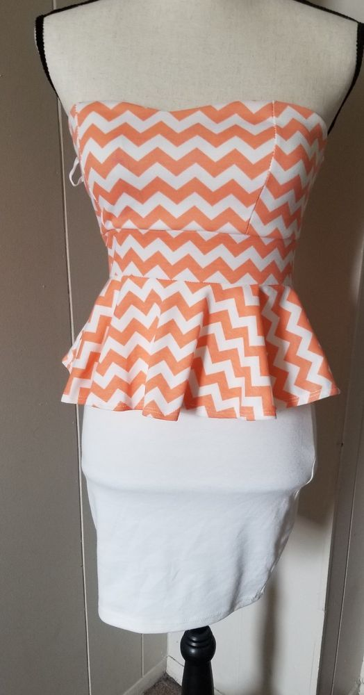 Body Central Sale >> Nwt Body Central Chevron Peach And White Strapless Dress