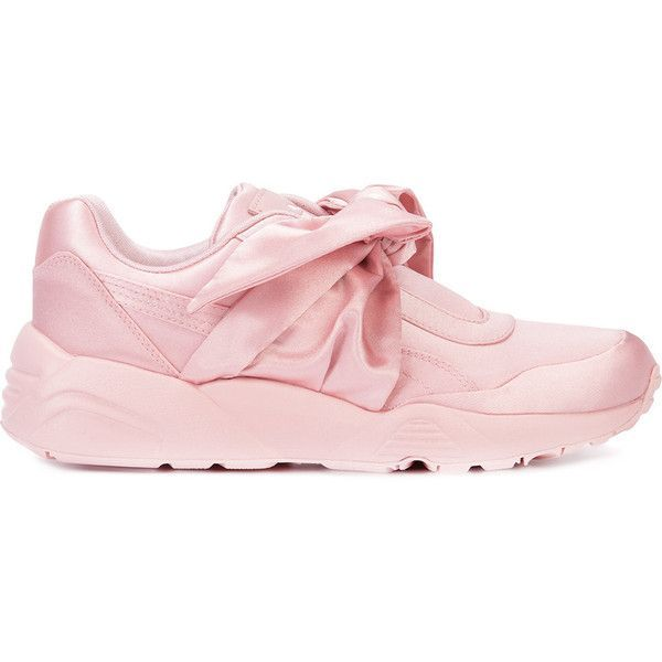 Fenty X Puma bow sneakers ($240) ❤ liked on Polyvore featuring shoes, sneakers, puma trainers, puma footwear, puma sneakers, pink shoes and puma shoes