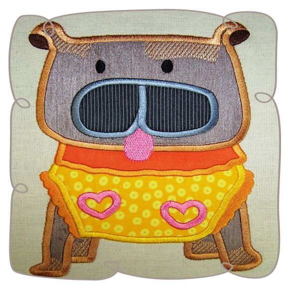 Mommas Boy Dog Applique Machine Embroidery Design Pattern-INSTANT DOWNLOAD