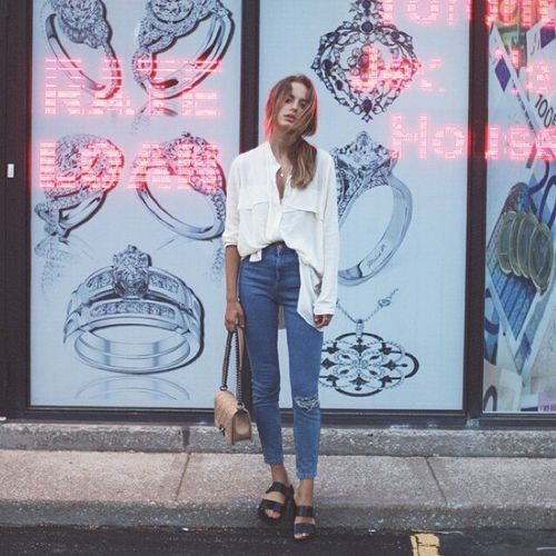 high wasted denim & blouses