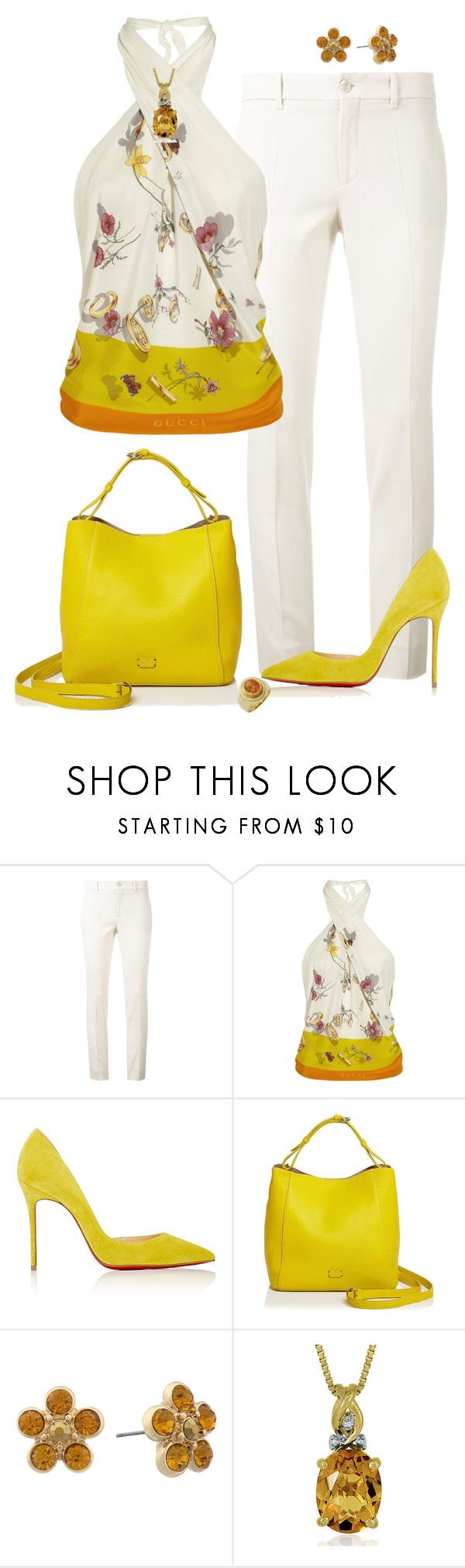 Sin título #1744 by marisol-menahem on Polyvore featuring moda, Gucci, Christian Louboutin, Frances Valentine and Monet