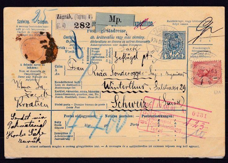 Österreich Paketkarte von Zagreb nach Winterthur/Schweiz, 1904
