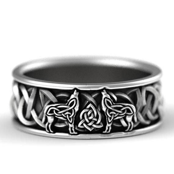 Sterling Silver Celtic Wolf Ring Wedding Band Etsy