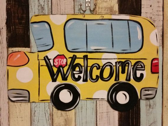 school bus door hanger by FischFynnDesigns on Etsy