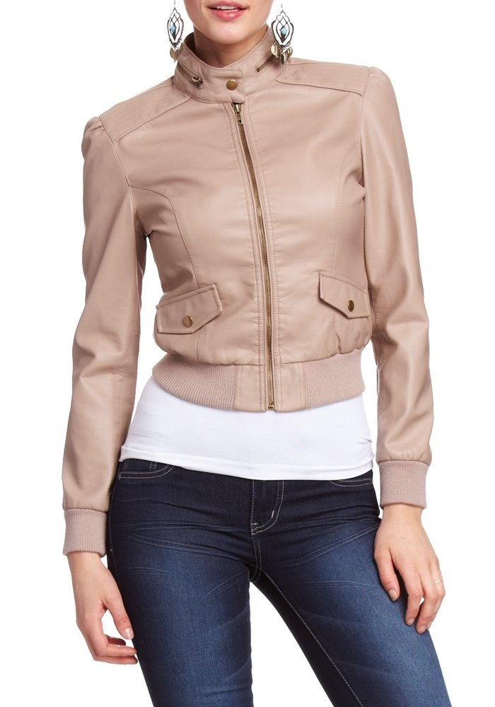 2B Tiffany Zip Collar Leatherette Jacket - $34.95