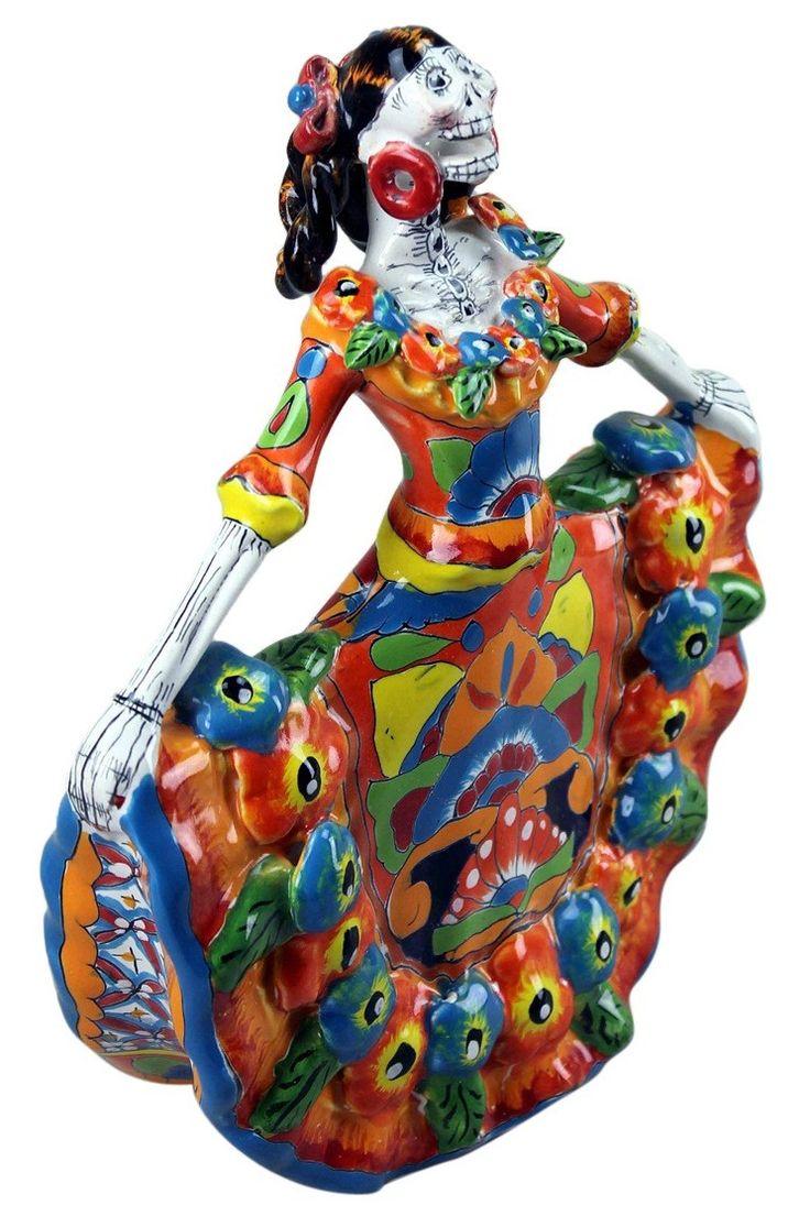 Talavera ceramic birdbaths eclectic bird baths phoenix by - Elegant Day Of The Dead Talavera Dancer Small