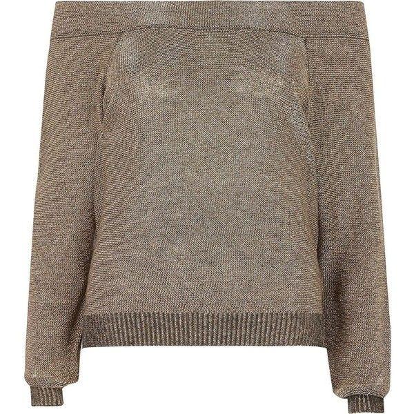 River Island Dark grey metallic bardot sweater ($72) ❤ liked on Polyvore featuring tops, sweaters, grey, knitted tops, knitwear, women, knit top, dark gray sweater, lightweight sweaters and grey sweater