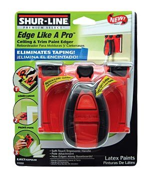 Edge Like A Pro Paint Edger by Shur-Line  Use this tool to apply paint as close to ceiling, crown molding, and baseboard edges as possible. It will help you create crisp, clean lines without the use of painter's tape.      To buy: $5, farmandfleet.com.