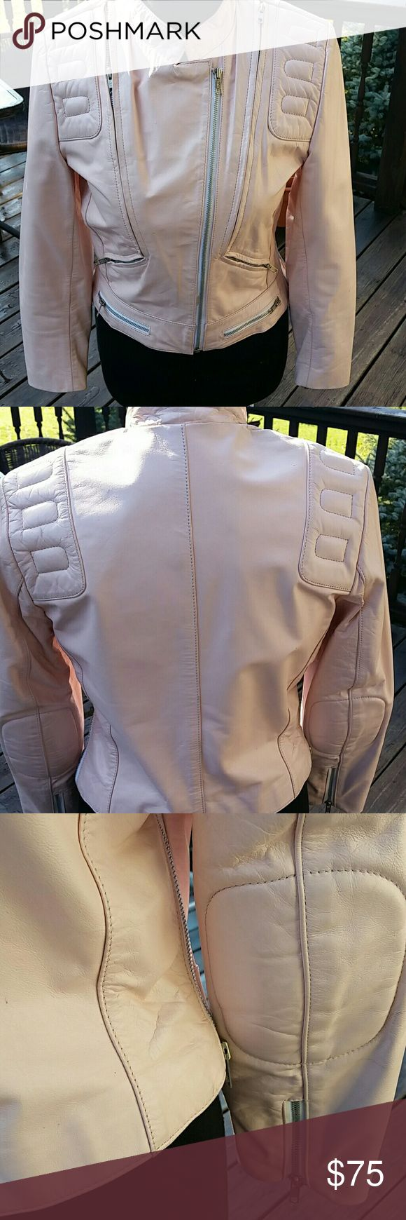 Pink leather motor jacket Soft pink leather moto  jacket w asymmetrical front zipper.  Padded elbows, zippers on arms,  venting side zippers and expandable zippers.   Really cute and hot looking!  Full disclosure - stain on the inside, left side under arm. speciale mode Jackets & Coats Utility Jackets