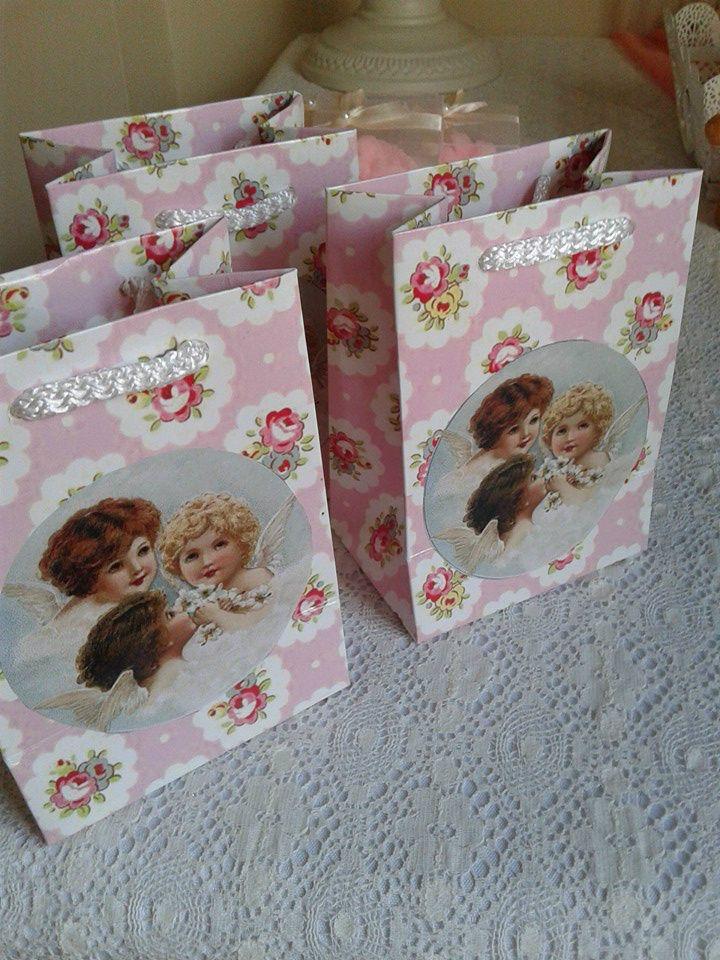 FOTOĞRAFLAR - www.hanieldavetveorganizasyon.com Angel baby shower gift bags.Melek bebek hediyelik çantalar