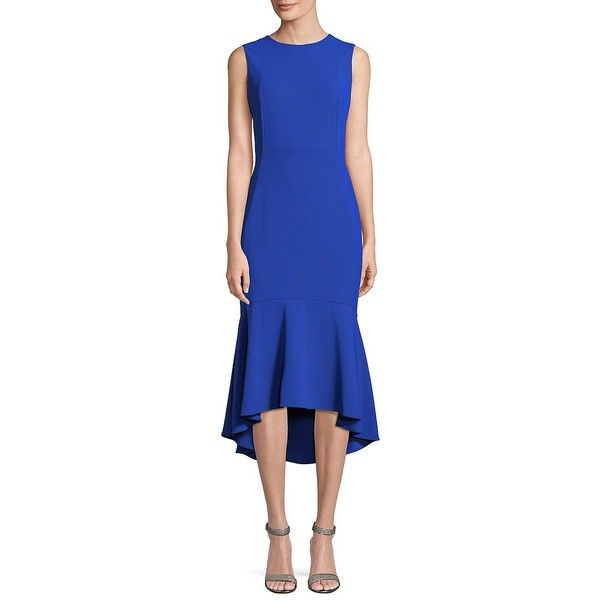 Calvin Klein Women's Sleeveless Ruffle-Hem Midi Dress ($139) ❤ liked on Polyvore featuring dresses, black, hi low dress, flounce hem dress, blue midi dress, ruffle dress and high low midi dress